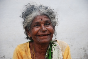 A smiling old lady