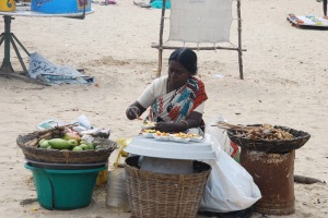 Selling fruit and vegetables at the beach
