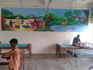 Colourful wall paintings in a tribal hospital