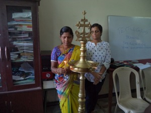 The starting ceremony for a three day tailoring course for selfhelp group women
